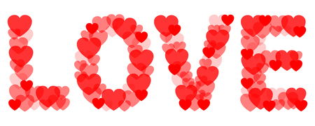 Love with hearts - stock vector