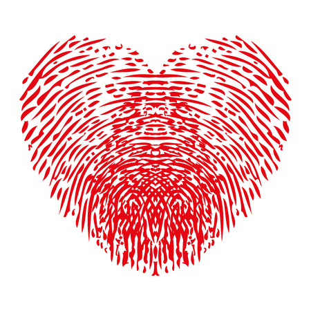 Fingerprints heart icon - stock vector