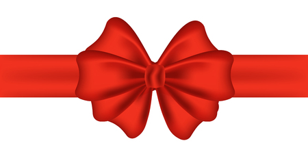 Gift decoration. Red ribbon - vector illustration