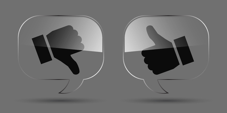Up and down index finger on glass - stock vector
