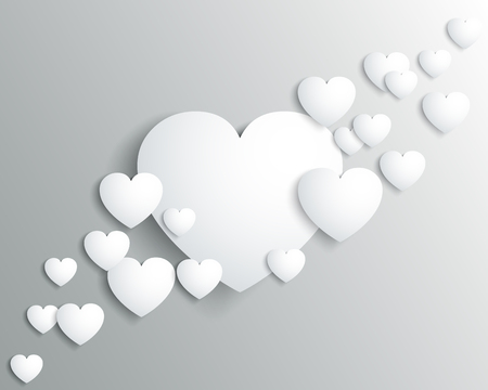 White hearts, beautiful concept of Valentines day - for stock