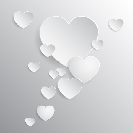 White hearts, beautiful concept of Valentines day - vector
