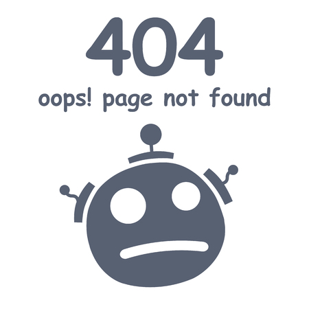 Oops 404 error page not found. Futuristic robot concept – vector