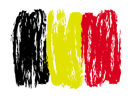 Belgian colorful brush strokes painted flag – stock vector