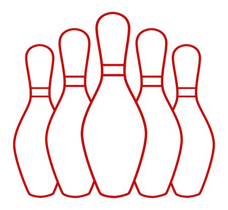 Group bowling pins, bowling bowls - stock vector