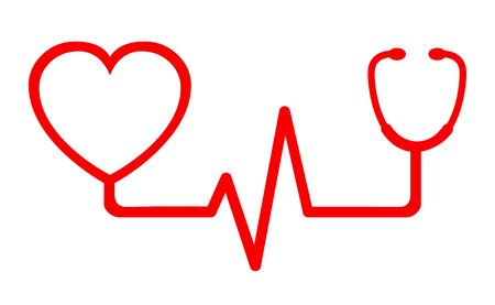 Sign red heart pulse icon, one line, cardiogram - vector Çizim