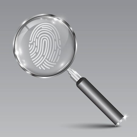 Huella digital de búsqueda de instrumento de lupa - vector de stock