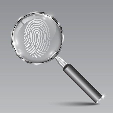 Lupe Instrumentensuche Fingerabdruck – Vektorgrafik