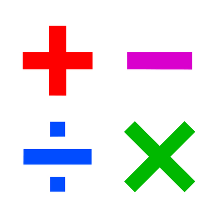 Basic mathematical sign, math flat signs icon - stock vector