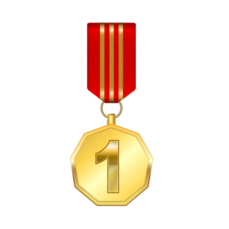 Golden medal with red ribbon, sign first place - stock vector