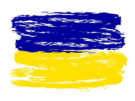 Ukrainian colorful brush strokes painted flag - stock vector