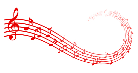 Red music notes background, musical notes – stock vector