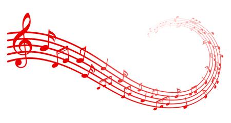 Sfondo di note musicali rosse, note musicali - stock vettoriale