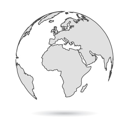 Gray Globes with continents - vector