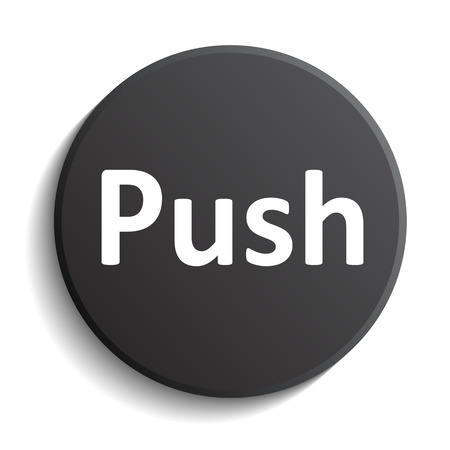 Black button with text push - stock vector