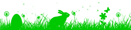 Bunny Sitting In The Meadow, Easter concept – stock vector 矢量图像