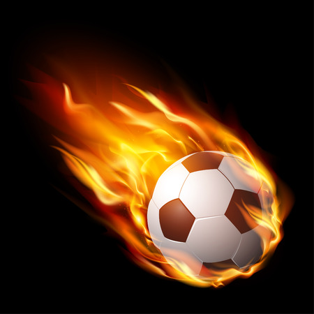 Soccer ball in fire, hot football match – stock vector