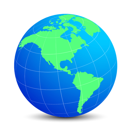 Blue globes with green continents - vector