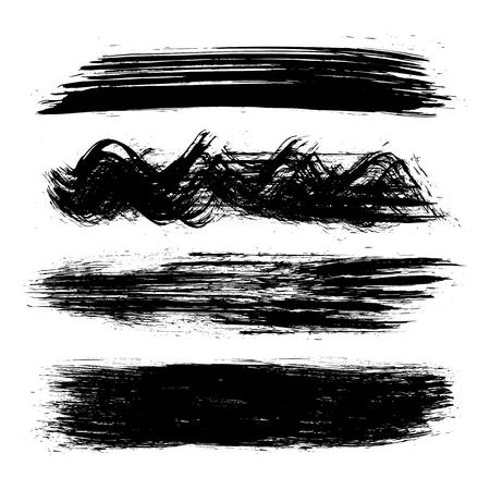 Black set of paint, brush strokes – stock vector