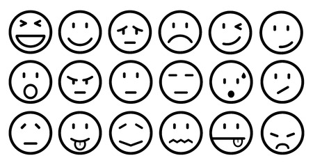 Eighteen smilies, set smiley emotion, by smilies, cartoon emoticons - stock vector