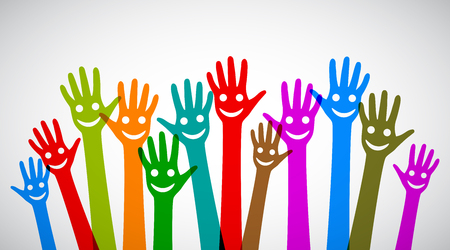 A group of smiling hands - stock vector Illustration