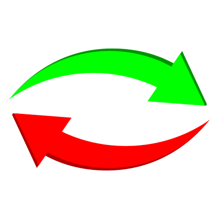 Two arrows: green and red – stock vector