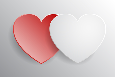 Two hearts, beautiful concept of Valentines day - vector