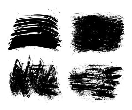 Black set of paint, brush strokes Illustration