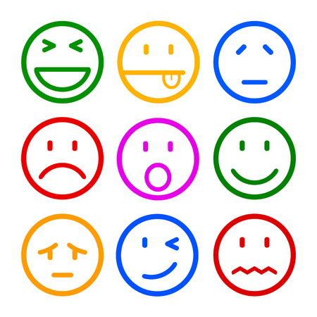 Nine smilies, set smiley emotion, by smilies, cartoon emoticons Illustration