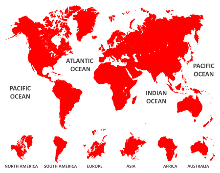 Red World Map with division of continent