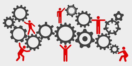 Concept teamwork, staff, partnership mechanism Vettoriali