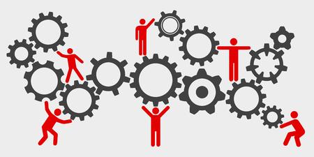 Concept teamwork, staff, partnership mechanism Illustration