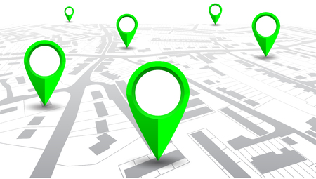 GPS navigator pointer on city map