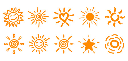 Collection of drawn sun icons