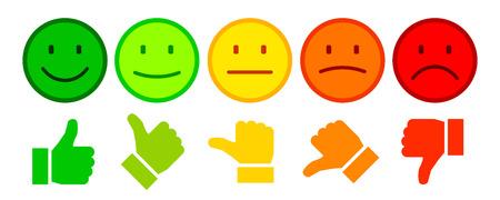 Bewertung durch Emoticons Vektorgrafik