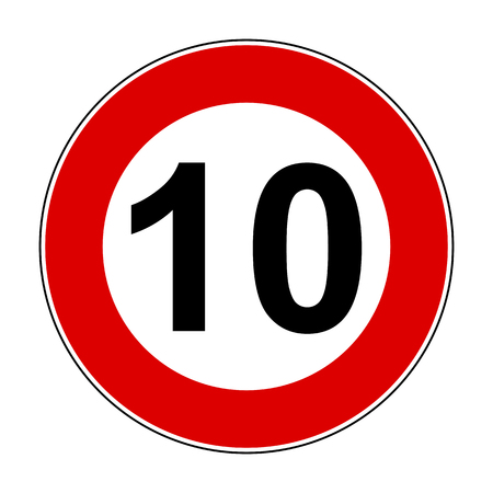 Speed limit signs of 10 km Stock Vector - 102151427