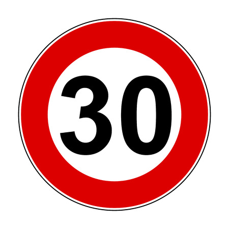 Speed limit signs of 30 km