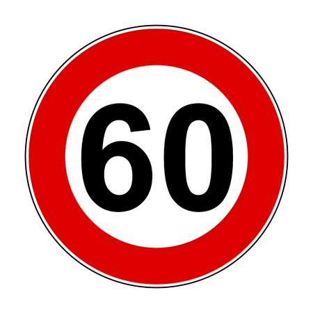 Speed limit signs of 60 km Иллюстрация
