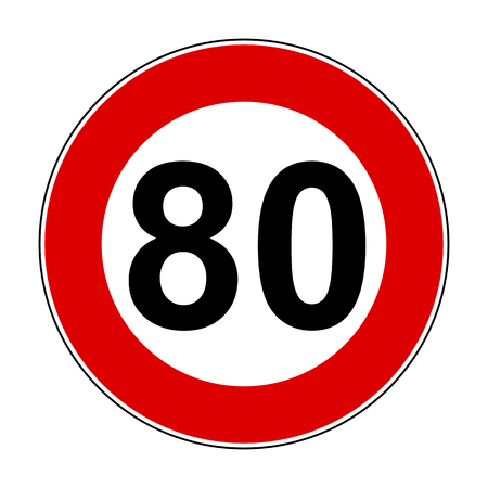 Speed limit signs of 80 km Illustration