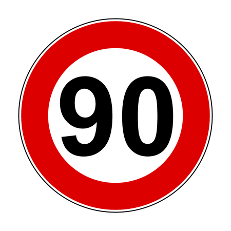 Speed limit signs of 90 km