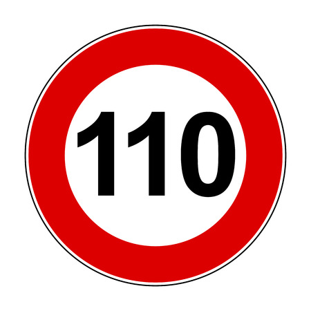 Speed limit signs of 110 km Ilustrace