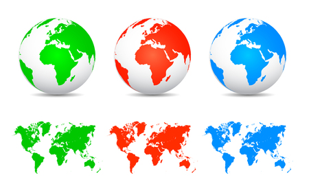 Set globes with continents - stock vector