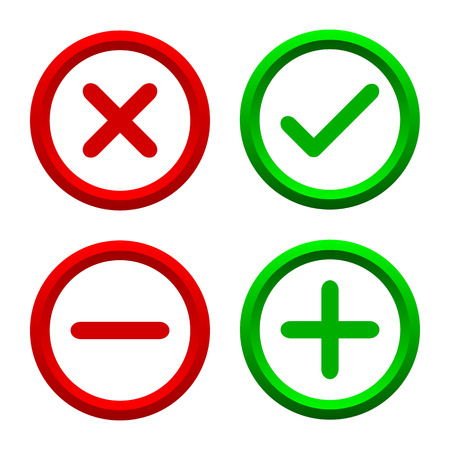 Set of four simple web buttons check mark, cross, dash – stock vector Stock Illustratie
