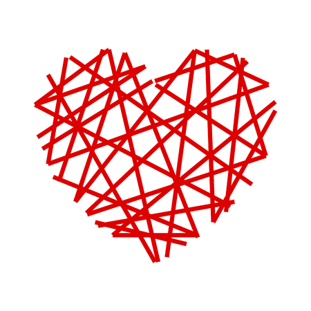 Set of red heart in a spider web - for stock