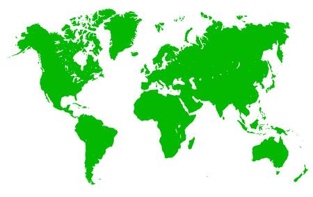 Green World Map - vector