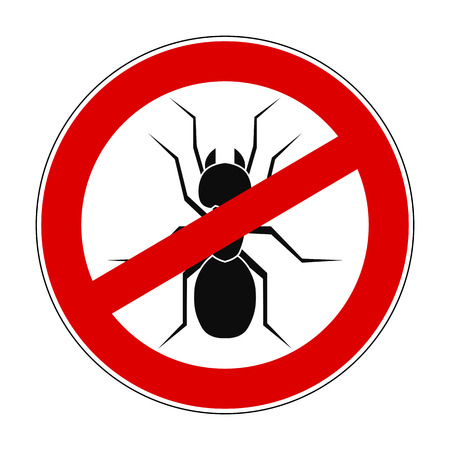 Sign ban anti ant - stock vector