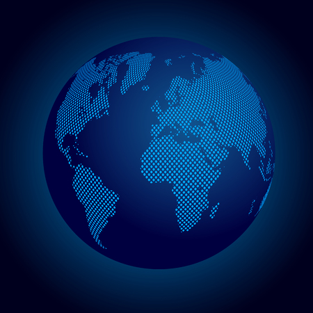 Blue globes with continents - vector