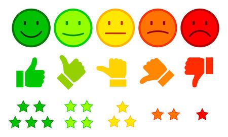 Valutazione tramite emoticon - vettore Vettoriali
