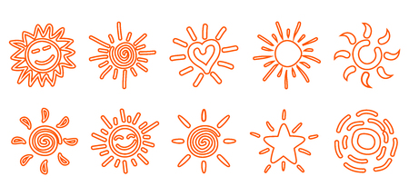 Collection of drawn sun icons - stock vector