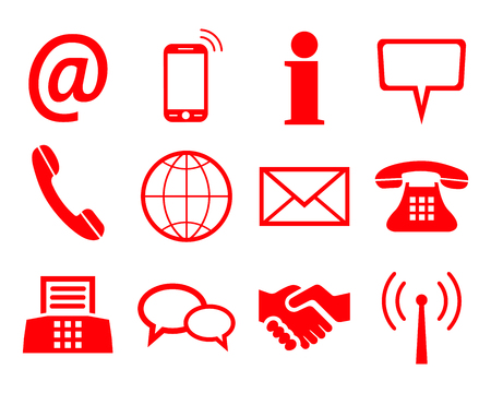 Red contact icons - for stock